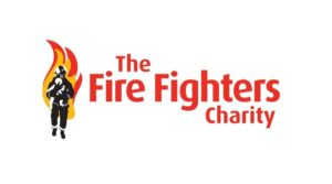 The FireFighter Charity Logo including a firefighter with flames behind