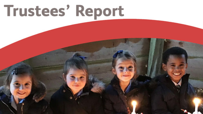 Trustee's Report Cover, title and image of ,children holding candles smiling